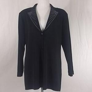 Misook Black Swarovski Crystal Jacket